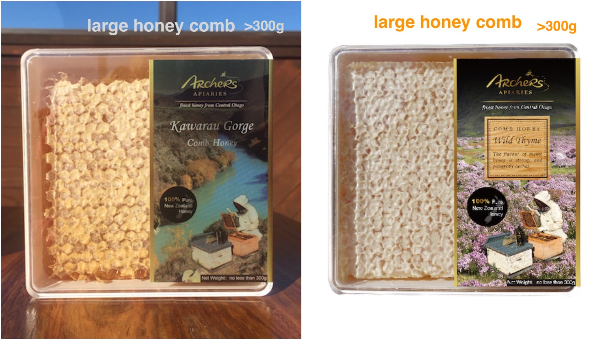 Special - Thyme Large Comb Honey + Kawarau Gorge Large Comb Honey